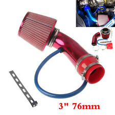 "Red 3"" 76mm Car Engine Air Intake Filter Alumimum Induction Kit Pipe Hose System"