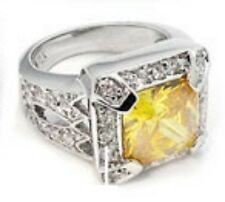 925 Sterling Silver & 4.50Ct Simulated Yellow  Diamond Ring. Size 6.