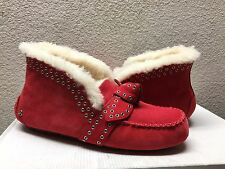 UGG POLER LIPSTICK RED FULLY LINED MOCCASIN SLIPPERS US 10 / EU 41 / UK 8.5