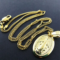 Virgin Mary Madonna Pendant Necklace Chains 18k Yellow G/F Gold Solid Fine Link