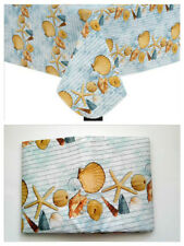 "Seashells Nautical Beach Theme Blue 70"" Round Vinyl TableCloth Dining Decor"