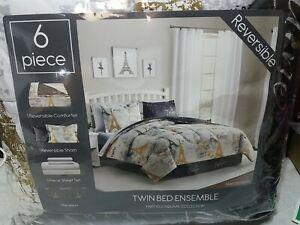 Fairfield Square Collection Paris Gold 6 pc Twin Size Reversible Conforter set.