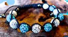 10mm Shamballa bracelet blue and white rhinestones with hematite