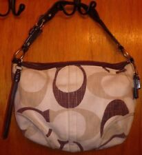 """Coach Signature Woven Tonal """"Carly"""" Hobo Bag Braided Leather Handle Style#12190"""