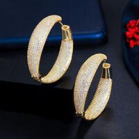 Luxus Dubai Gold Pave Mirco Zirkon Frauen Braut Party Groß Runden Band Ohrringe