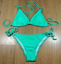 Women's Green Triangle Bikini Gold Metal Ring Trim UK Size 12