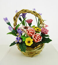 Dollhouse Miniature Basket Full of Flowers Bouquet, A1070