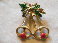 Christmas Brooch Pin Bells Holly Gold T one Enamel Cute