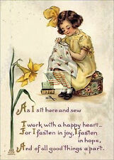 REPRINT PICTURE of old postcard SEWING AS I SIT HERE AND SEW girl sitting 5x7