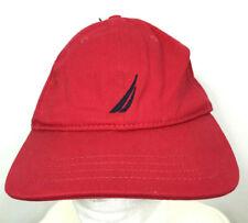 Nautica Baseball Hat Ball Cap Red Adjustable 100% Cotton Logo Mens Womens NEW