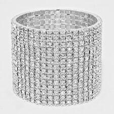 Rhinestone Bracelet 14 Row Wide Stretch Bangle Crystal Pave Wedding Bride SILVER
