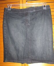 Ann Taylor LOFT jean skirt Size 8 w 32 L 19 Dark Blue slit in the back EUC