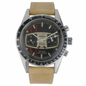 Yema Ralleye Mario Andretti Vintage Mens Watch Circa 1970s Rare 39mm Chronograph