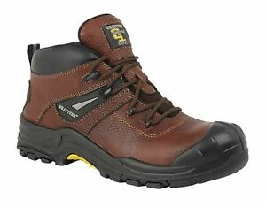 Mens Leather Non-Metal Composite Waterproof Safety Ankle Boots Shoes Size