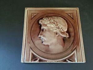 "J. & J.G. Low Art Tile Works 6"" Tile - Greek or Roman Man - Copyright 1884"