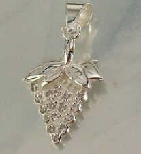 925 STERLING SILVER and CZ small GRAPES Design CHARM PENDANT 13mm x 14mm, 1.3g