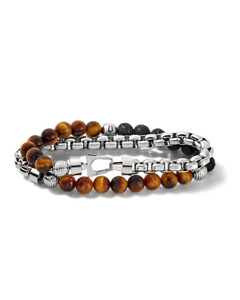 *BRAND NEW* Bulova Men's Classic Tiger's Eye Beads Double-Wrap Bracelet J96B023L