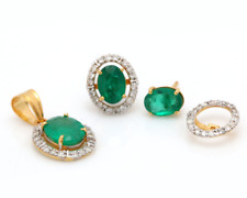 14K Gold Natural Emerald and Diamonds Studs With Pendent Gemstone Earrings