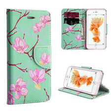 For iPhone 7+ Plus - MINT BLUE SAKURA BLOSSOM Card ID Wallet Diary Case Cover