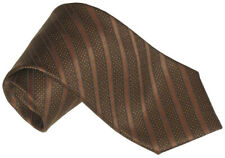 NEW STEFANO RICCI BLACK COPPER BROWN FANCY STRIPE LUXURIOUS 100% SMOOTH SILK TIE