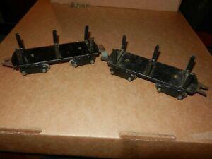 2 MARX Log Cars, Black,  8 Wheel,  Original