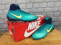 NIKE BOYS UK 4 EU 36.5 MAGISTA OBRA II TEAL NEON YELLOW FOOTBALL BOOTS RRP £120