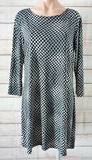 Emily Rose Tunic Dress Size 14 Black White Stretch Three-quarter Sleeve