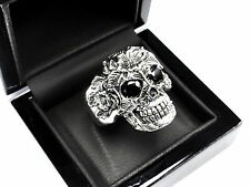 Men's 14 K White Gold Floral Skull  Ring With Black Diamonds 2.50 ct.
