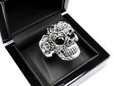 Men's 14 K White Gold Floral Skull  Ring With Black Diamonds 2.50 ct.