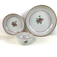3 Piece Trio Antique 18th C Chinese Export Porcelain Cup & Saucer and Plate