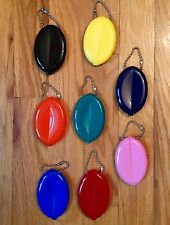 10 RUBBER SQUEEZE OVAL COIN PURSE MENS WOMENS MONEY HOLDER WALLETS - Made in USA