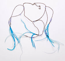 BROWN THREAD W BEADS & CASCADING ELECTRIC BLUE FEATHERS NECKLACE, ADJUSTS (ZX44)
