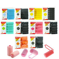 SOFT FOAM CUSHION HAIR ROLLERS,CURLERS HAIR CARE STYLING 5 SIZES 5 COLORS BLACK