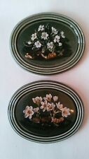 "2 Ceramic Plaque White Fowers on Green background 4 x 3"" E.A McEwen Print"