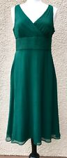 J CREW EMERALD FOREST GREEN SILK CHIFFON SOPHIA COCKTAIL PARTY SUN MIDI DRESS 10