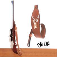 Tourbon Hand Made Leather Rifle Shotgun Sling Strap with Swivels Adjustable Belt