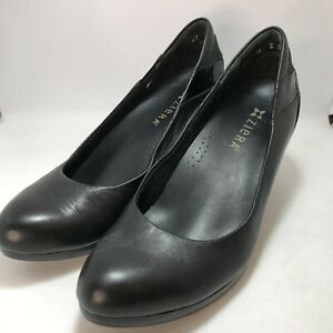 Ziera Sz 37M Cila Black Leather Patent Trim Cuban Heel Courts