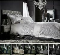 Luxuries TESSELLA Sequinned Glittery Duvet Quilt Cover Set Bedding Set All Sizes