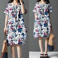 ZANZEA Femme Imprimé floral Manche Courte Loose Col Rond Mini Robe Dresse Plus