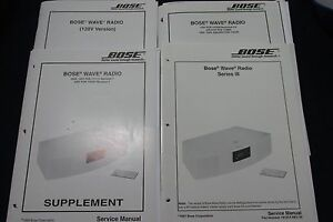 Original Bose Wave Radio Service Manual + Supplement lot of 4 books and foldouts