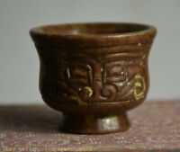 """2 """"visage de bête sculpté à la main de jade naturelle ancienne Chine"""
