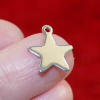 10x Stainless Steel Star Charms for Bracelet Hypoallergenic Small Pendant Silver