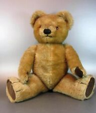 Vintage Chad Valley Teddy Bear Jointed Golden Mohair plush Brown velvet pads