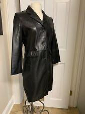 Kenneth Cole Reaction Long Black Leather Sexy Spy Coat WMs Medium The MATRIX