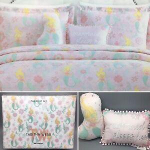 9pc Mermaid FULL Comforter Pillow SHEET Set Ocean Pink Tabitha Webb Designer