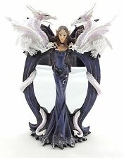 Fairy with Dragon Mirror Statue Figurine Ornament Sculpture BIG 28 cm Home Decor