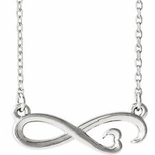 "Infinity-Inspired Heart 16-18"" Necklace In 14K White Gold"