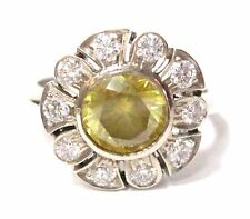 Natural Round Cut Fancy Yellow Diamond Flower Cocktail Ring Size 6 14k Gold