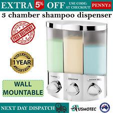 Shower Soap Dispenser Shampoo Conditioner Bathroom Wall Triple Pump Motel Hotel