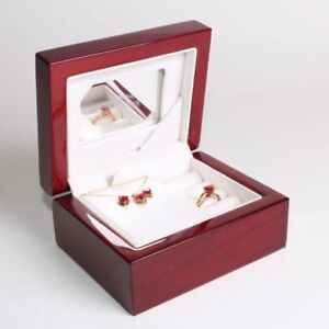 Lab Created Ruby Necklace, Earrings, Ring in 10k gold, diamonds 3 Pc Size 7 NIB